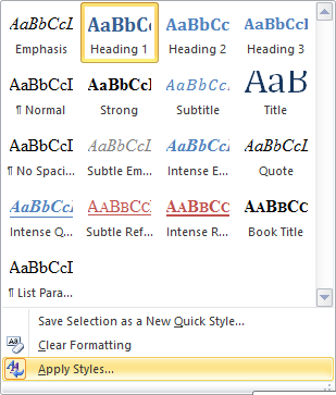 Style Box in Word 2010