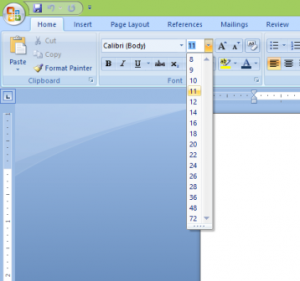 Smallest and Largest font size in word - Font Size tool opened in Word 2007 screen