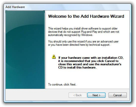 Add Hardware Dialog Box Windows
