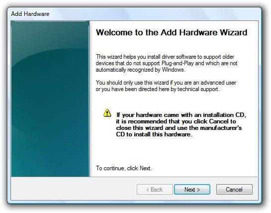 Add Hardware Dialog Box Windows