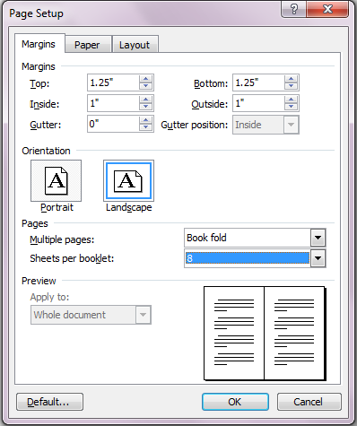 Book fold on Page Setup Dialog Box
