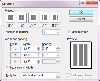 Columns Dialog Box
