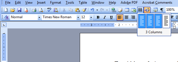 Columns Tool on Standard Toolbar