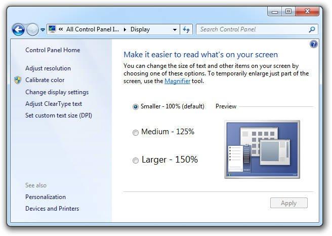 Display Control Panel Windows