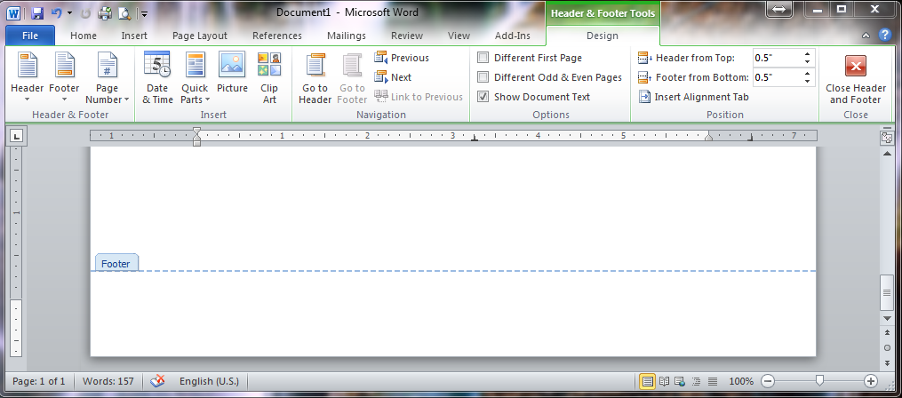 Footer Editing Screen in Word 2010