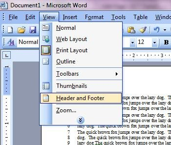Header and Footer Menu in Word 2003