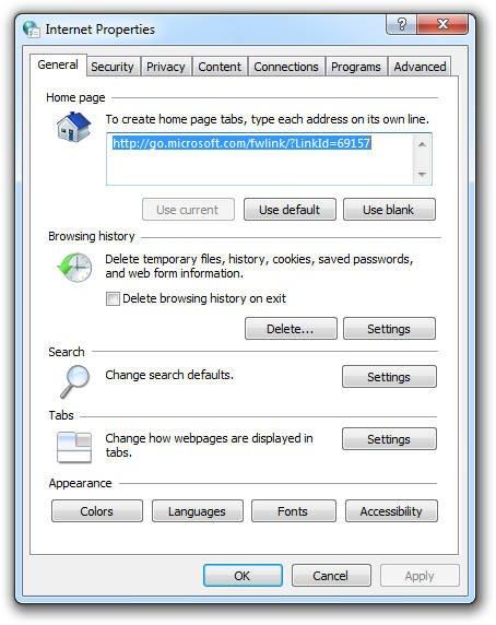 Internet Options Properties Windows