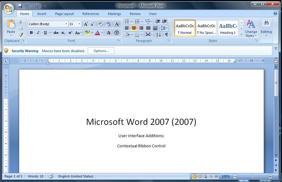 MS Word 2007 Screen