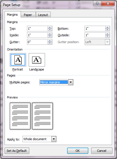 Mirror Margins in Page Setup Dialog Box