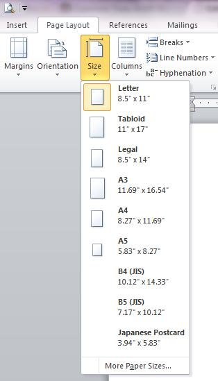 Paper Size Menu in Page Layout