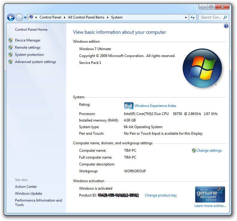 System Properties Windows