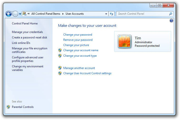 User Accounts Windows